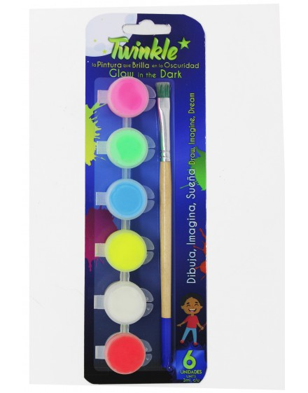6 luminescent paints pack– TWINKLE (3ml)
