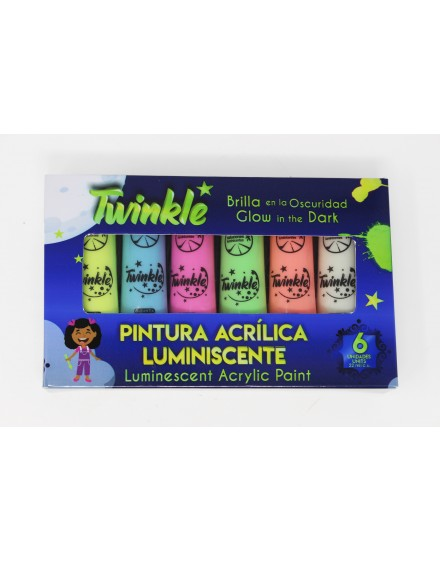Pack de 6 témperas luminiscentes - TWINKLE (22ml)
