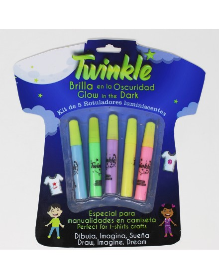 5 luminescent paints pack for clothes – TWINKLE (10ml)