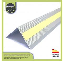 "Profil luminescent antidérapant en aluminium, en ""V"""